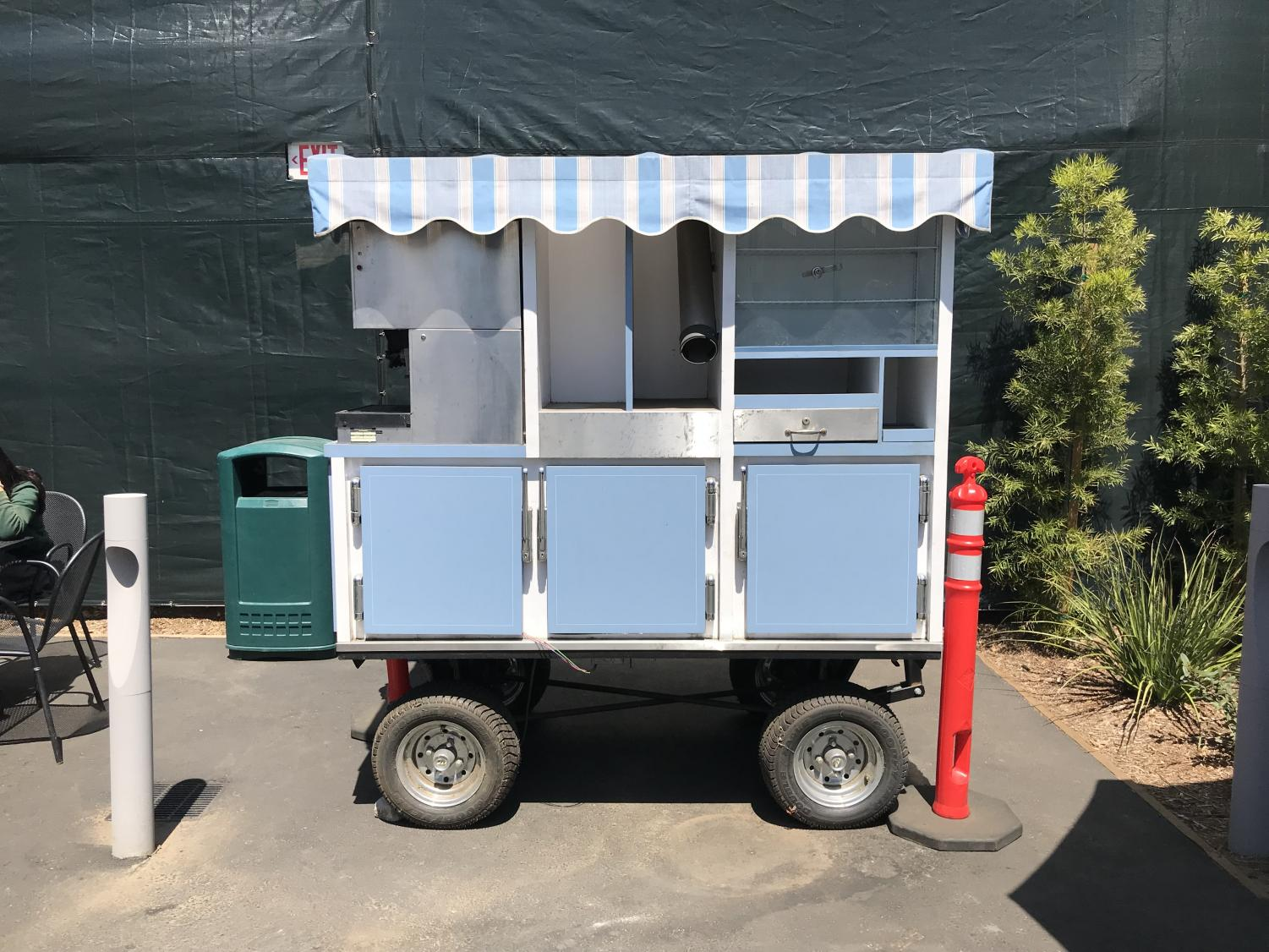 The new cart in the classroom village, which will house the student store, The Arrow. The new space is set to open for business on Tuesday, May 1.