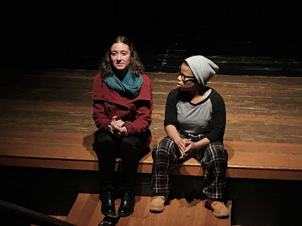 Livia+Blum+%2719+and+Jayla+Brown+%2718+perform+their+scene+during+the+show.+Blum+and+Brown+also+starred+alongside+one+another+during+the+upper+school+play%2C+%22Peter+and+the+Starcatcher%2C%22+earlier+this+year.