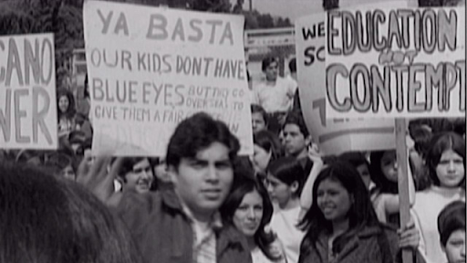 A promotional image of students at a Los Angeles walkout in 1968. Students demanded quality education and to be treated fairly. Image source:  PBS.