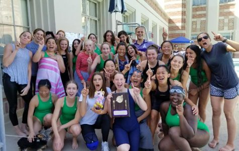The varsity swim team poses with their championship trophy. Some swimmers will continue on to compete in the CIF meet on May 11. Image courtesy of Summer de Vera.