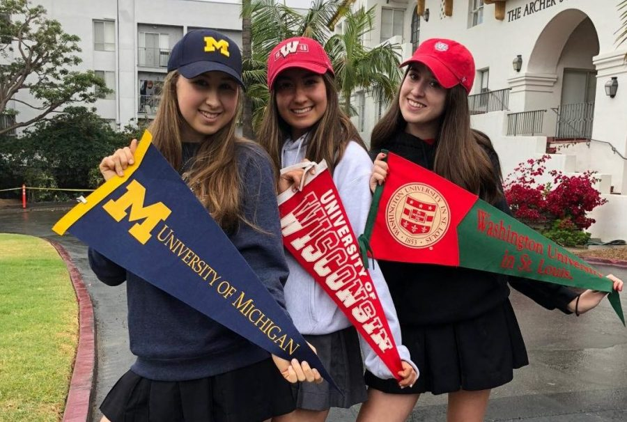 Seniors Sophie Goldberg, Erica Dick and Noa Diamond pose for a picture on May 1, College Decision Day. Goldberg will be attending the University of Michigan in Ann Arbor, Dick will be attending the University of Wisconsin-Madison, and Diamond will be attending Washington University in St. Louis.