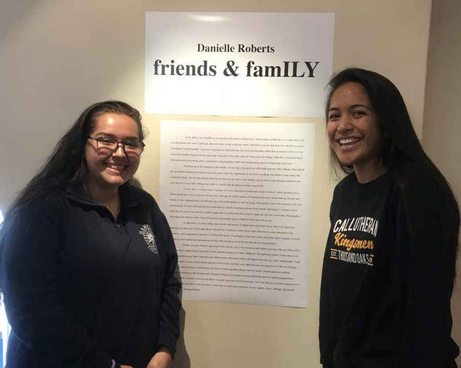 Seniors Josie Garcia-Euyoque and Dani Roberts open their Senior Art Show, entitled