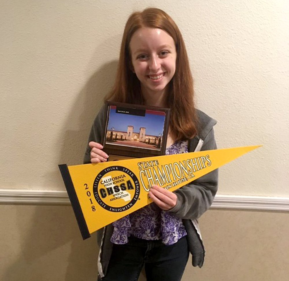 Anna Brodsky '20 poses with awards at the California High School Speech Association tournament. Brodsky ranked among the top 60 in the entire state. Image courtesy of Brodsky.