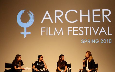 Marlena Lerner '18, Sophie Evans-Katz '18 and Zoë Applebaum Schwartz '19 interview actress Laura Dern during the film festival. The festival commenced with a compilation of Dern's most famous films including