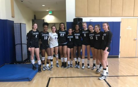 The varsity volleyball team poses for a group photo. The team will advance to the second round of CIF playoffs.