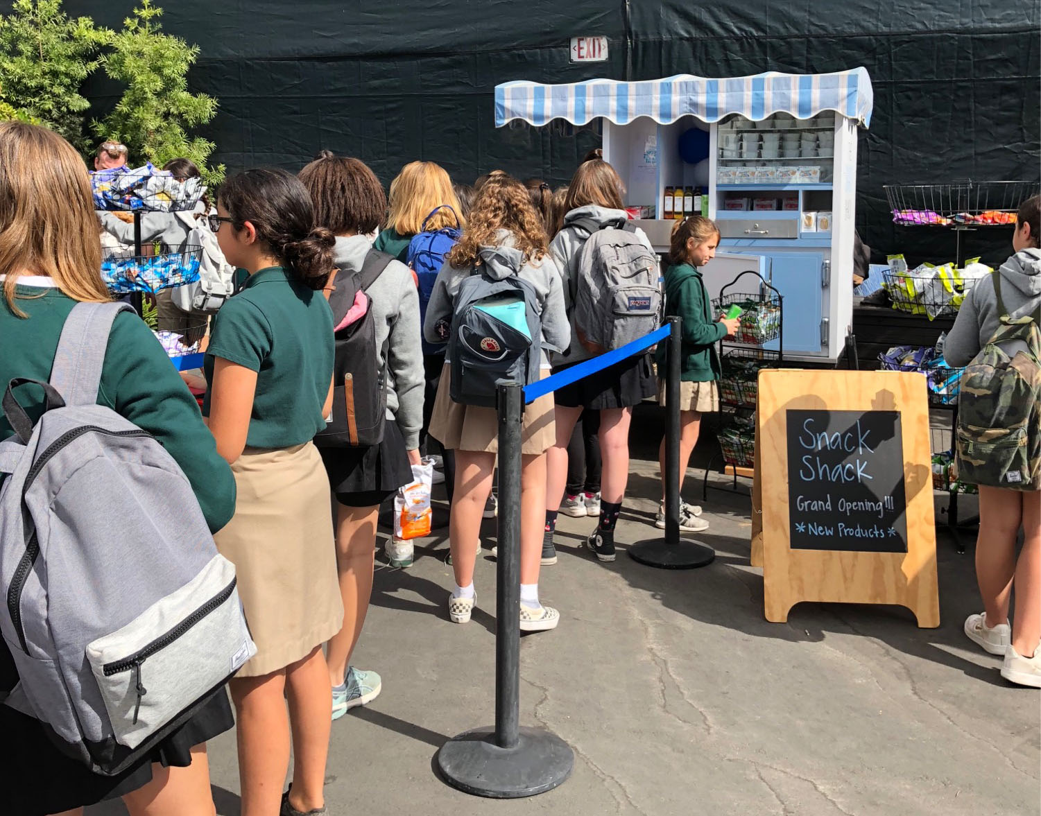 Students line up to purchase snacks at the Snack Shack's opening.