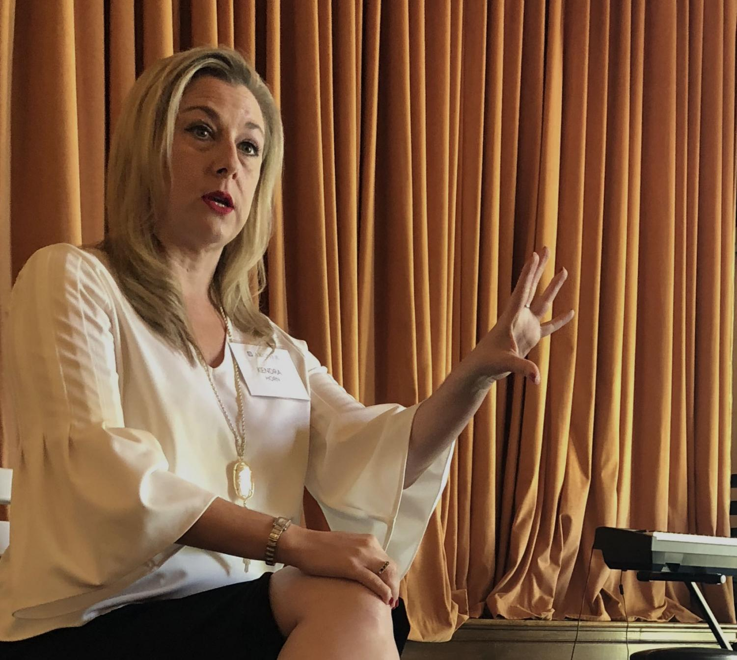 Kendra Horn speaks to the student body during lunch about women in politics. She is running to be the representative of Oklahoma's Fifth Congressional District.
