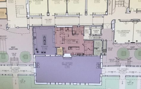 The drawn out plans for the construction of the new kitchen at Archer. The kitchen will be located behind the dining hall and will be divided into a servery and a kitchen.