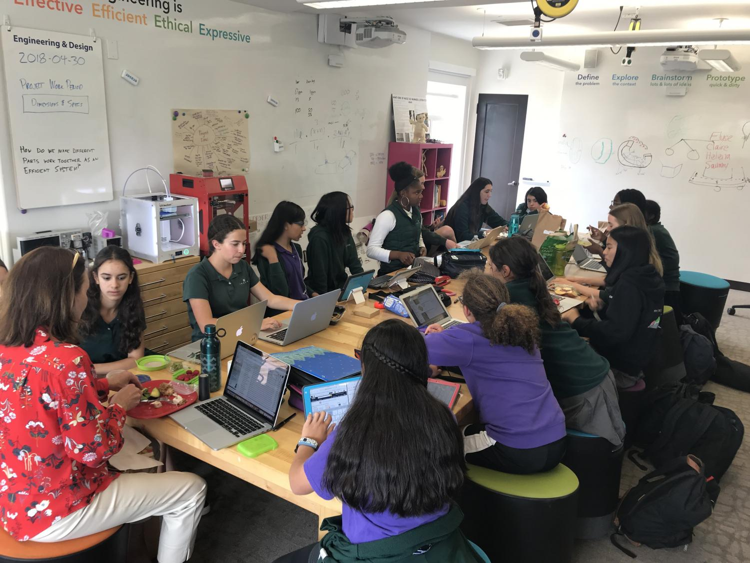 The InvenTeam works on their proposal in Spring 2018. The team includes girls from all grades.