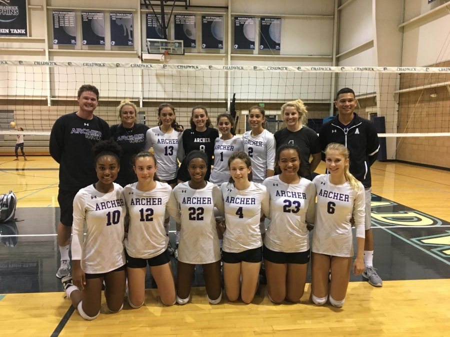 The Archer varsity volleyball team posing on court before a game. There are no seniors on the team this year leaving two juniors to lead the team to victory. Photo source: Amelia Nathanson '20.