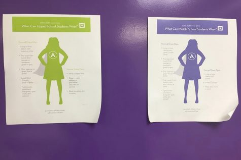 Uniform policy posters hanging in the bathroom describing the new rules from the 2018-2019 school year. As students return to campus they are now required to wear their uniforms whilst on-campus in addition to students who are continuing remote learning.