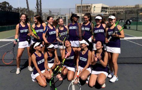 The varsity tennis team poses after a game at Santa Monica High School (SAMO).  The team has won all of their league matches so far.