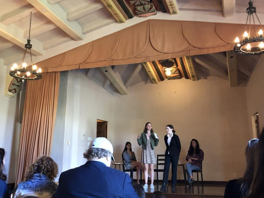 Lily Price '20, Livia Blum '19, Courtney Wernick '21 and Faith Hernandez '20 perform their skit in the Rose Room. The group held their first performance of the year today at lunch.