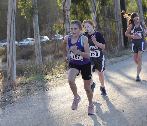 Sixth grader Sofia Cianciolo runs in the Finals of middle school cross country. The Panthers ended the season in fourth place and had three girls come in the top five of the separate sixth grade race.