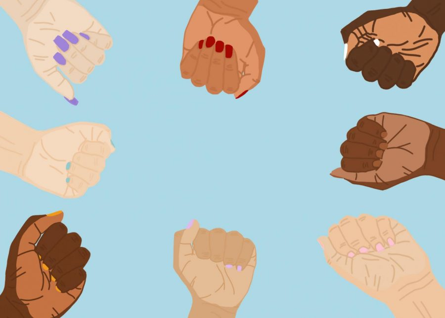 An artistic illustration by Leslie Castaneda '20 shows the diversity of skin colors in communities of color.