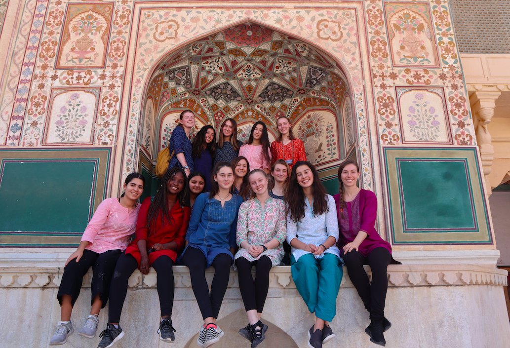 The+group+of+13+sophomores+and+juniors%2C+along+with+the+advisers%2C+pose+for+a+photo+at+the+Amber+Palace+in+Jaipur.+The+group+spent+two+weeks+traveling+in+India.+