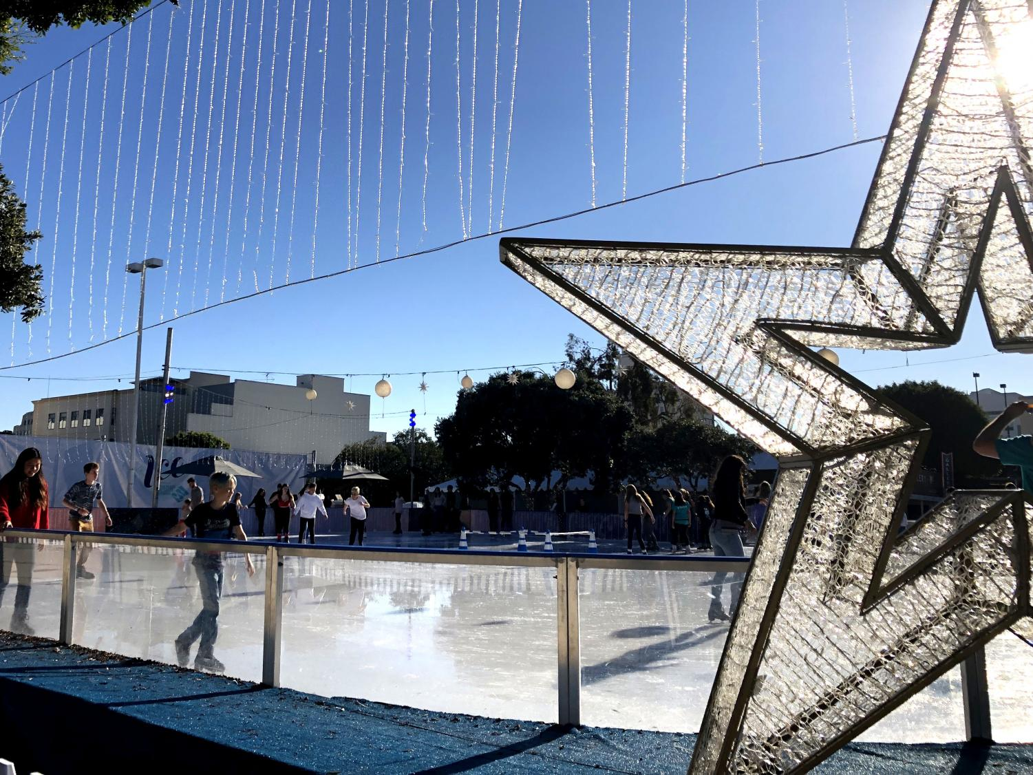 At Santa Monica's Ice, ice skaters skate around a rink. This rink is available during the wintertime, and opened up on Nov. 3, 2018.