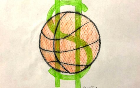 Drawing of a basketball and dollar sign by student-artist and sophomore Mia Frank. The NCAA President, Mark Emmert, has continually rejected the idea of compensating college student-athletes reasoning that paying basketball and football players would force schools to