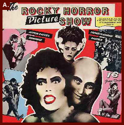 Official poster for the Rocky Horror Picture Show.  The famous production, which was originally made as a movie in 1975, encompasses the vintage spirit of the early '70s.