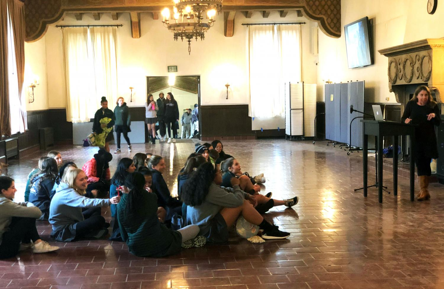 Archer Freshman (class of '22) wait for their meeting to begin. The meeting discussed all aspect of their upcoming NOLS trip.