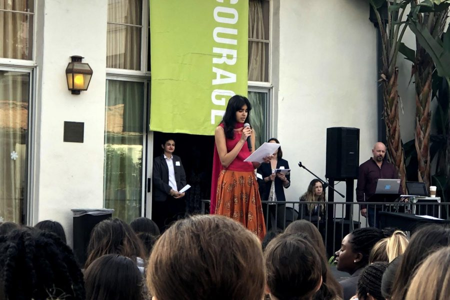 Misha+Mehta+%2720+reads+her+poem%2C+%22A+Letter+to+the+British%2C%22+to+the+Archer+community+at+the+conference.+Students+from+all+grades+were+asked+to+perform+at+the+conference.