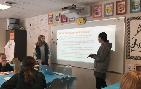 Senior Eden Motzkin and junior Grace Carter present about volunteer opportunities for Found Animals. Found Animals is a non-profit organization located in Los Angeles.