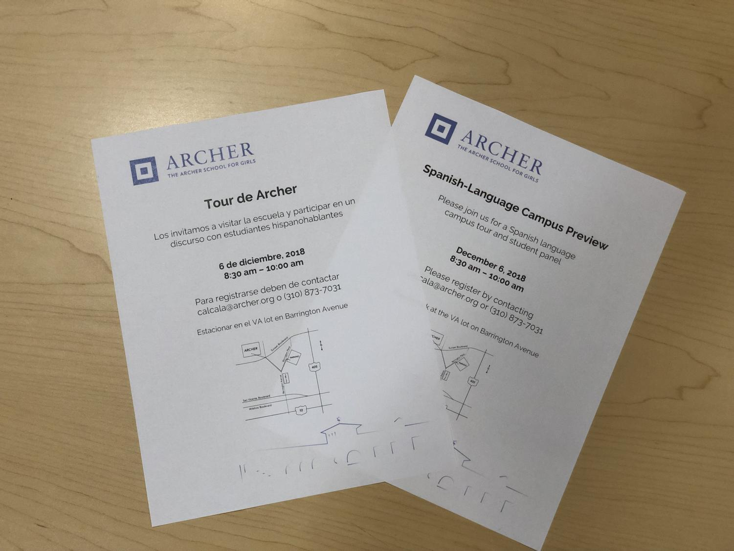 Invitations in Spanish and English for Archer's Spanish-Language Campus Preview rest on a table. The event happens every December for families interested in applying for Archer.