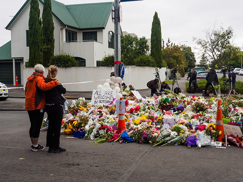 Women leave flowers near the Al Noor mosque as a symbol of shared grief for the victims of the Christchurch mosque shootings. People of all ages have an obligation to combat religious hate.
