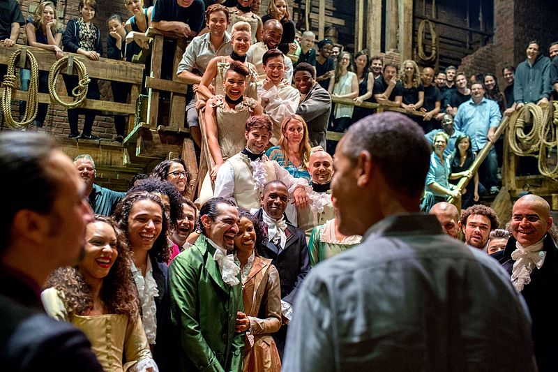 Former+president+Barack+Obama+greets+the+racially+diverse+cast+and+crew+of+%0A%22Hamilton%22+after+a+performance.+Though+often+praised+for+its+portrayal+of+the+founding+fathers+by+diverse+actors%2C+%22Hamilton%22+is+not+a+product+on+colorblind+casting%2C+but+rather+casting+that+is+color-conscious.+