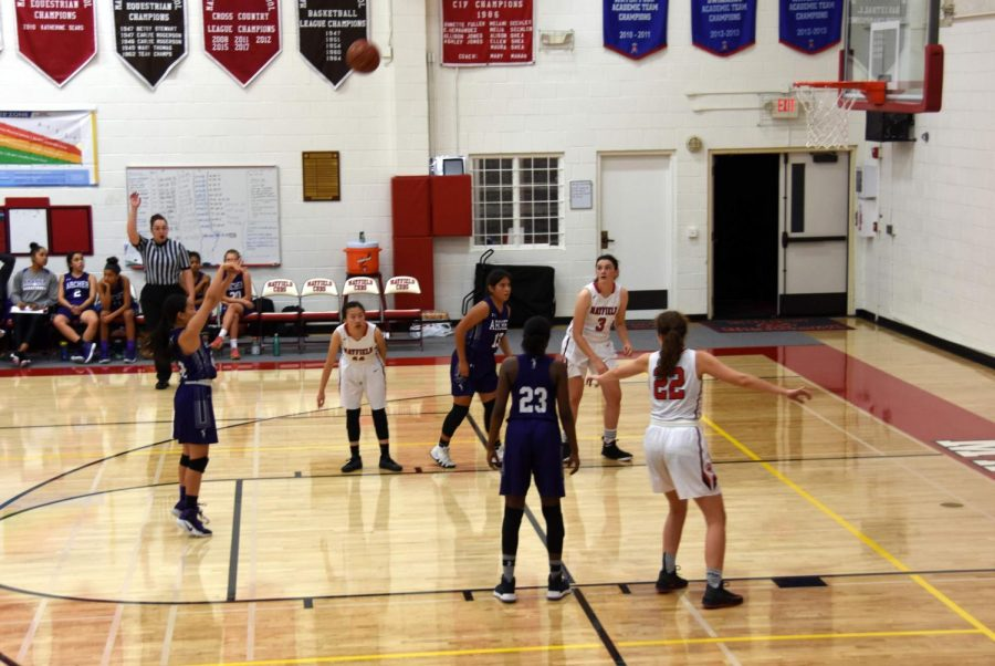 Team+captain+Caitlin+Chen+%2719+shoots+the+ball+from+the+free+throw+line.+The+team+won+seven+games+throughout+the+season.+