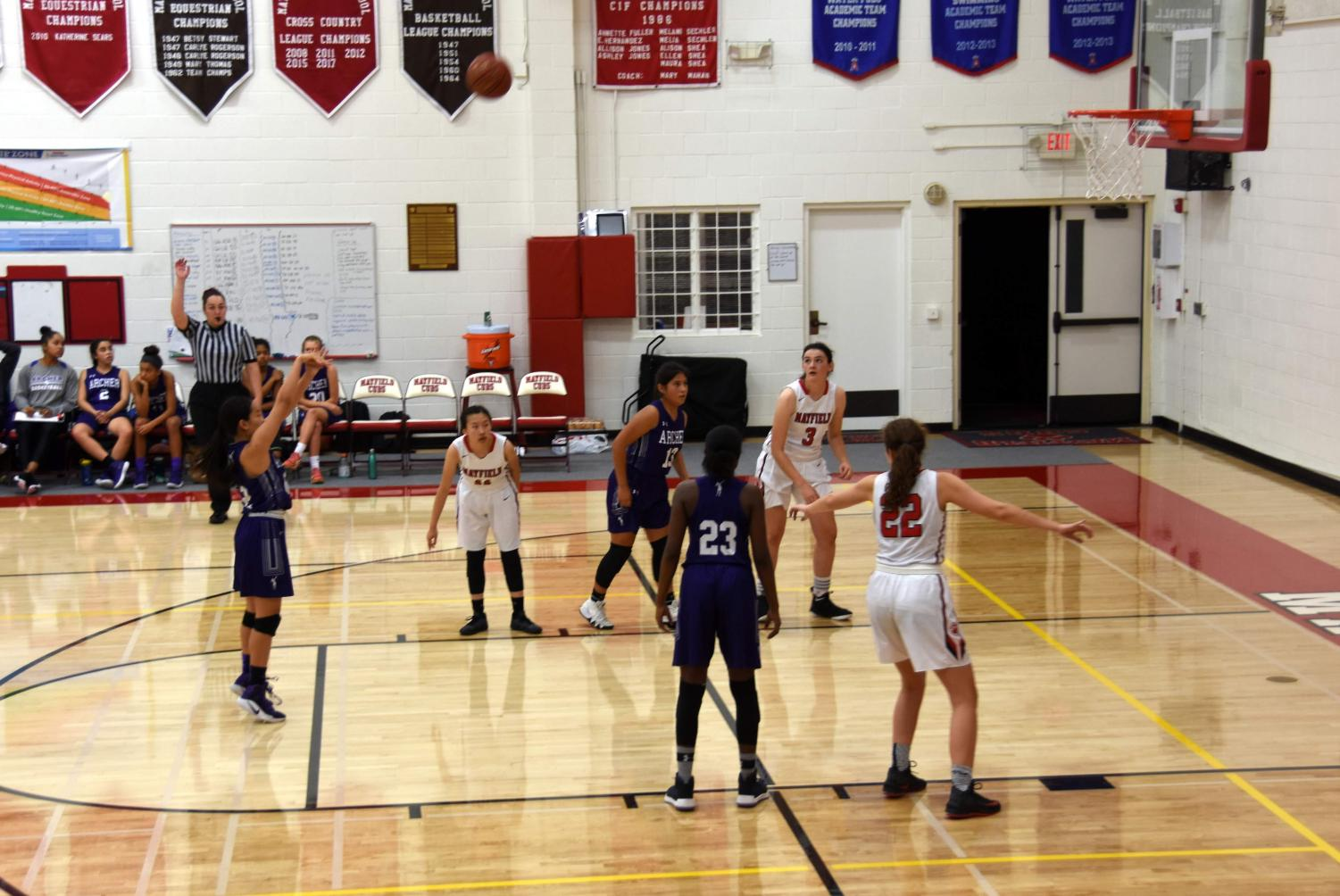 Team captain Caitlin Chen '19 shoots the ball from the free throw line. The team won seven games throughout the season.