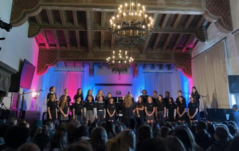 Upper school choir performs  for the upper school during a Wednesday assembly. In the preview, they performed two songs: