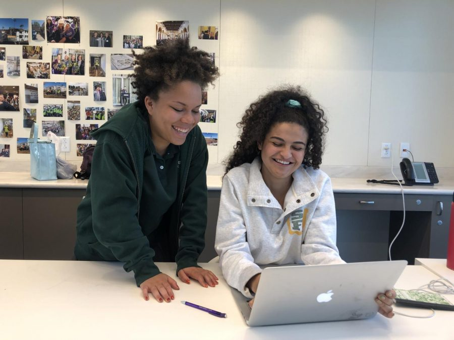 Seniors Madison Tyler and Megan Escobar collaborate during a free period. Escobar and Tyler have been working together as a part of the student tech crew for various Archer productions since their freshman years.