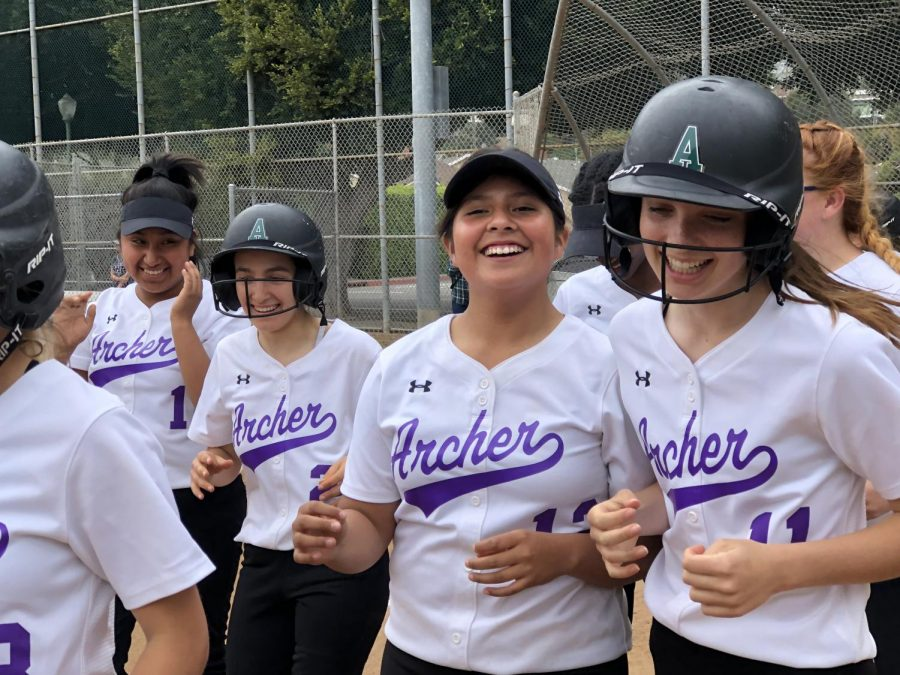 Junior+Kimberly+Tuxpan+and+freshman+Mikalya+Weinhouse%2C+Cristina+Fuentes-Alva+and+Presley+Sacavitch+at+a+softball+game+on+April+23+against+Rolling+Hills+Prep.+This+year%2C+the+varsity+softball+team+only+made+it+to+the+first+round+of+playoffs+but+according+to+junior+Victoria+Pinkett%2C+throughout+all+of+the+challenges+the+team+faced%2C+they+fed+off+of+each+other%27s+success+to+have+a+%E2%80%9Cgood%E2%80%9D+season.+
