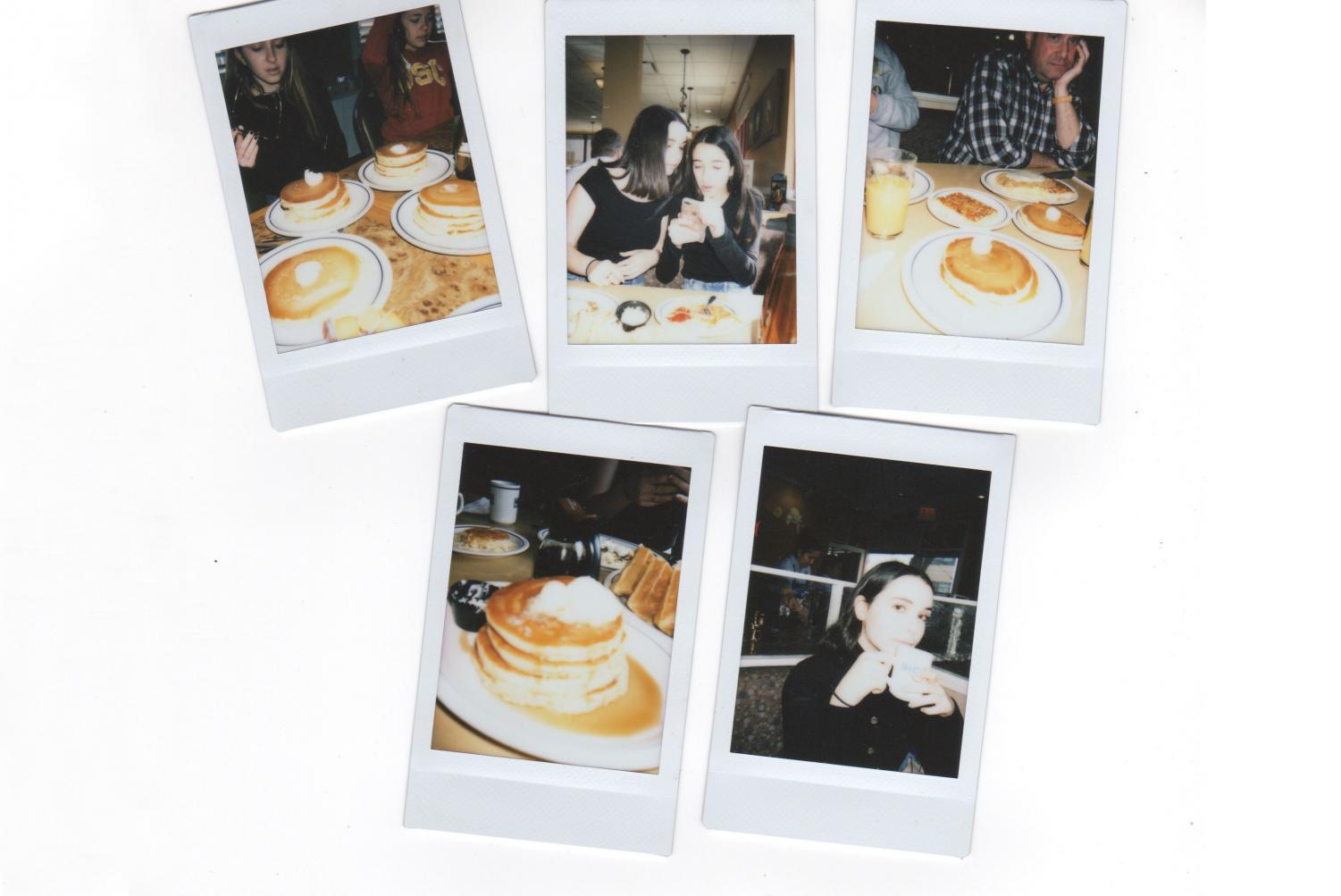 The assortment of polaroid pictures were taken on various trips to IHOP. The images capture moments with family, friends and breakfast.