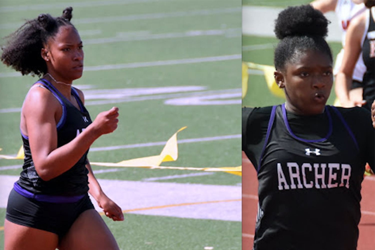 Varsity track and field captains Hailey Adams '20 and Miayunique South run in their events. South, the only senior captain, is also the only pole-vaulter for Archer's track team.