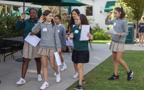 Middle schoolers in the ALTeachers X-Block follow sophomore Ambassador Leadership Team member Jessica Tuchin '21. The X-Block focused on teaching students how to be ambassadors for the school.