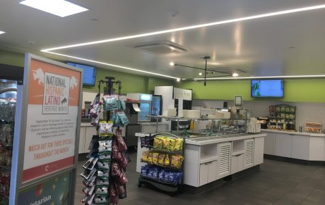 The servery features hot food options, salad, soup, frozen yogurt, snacks, breakfast, drinks and a grab-and-go section.