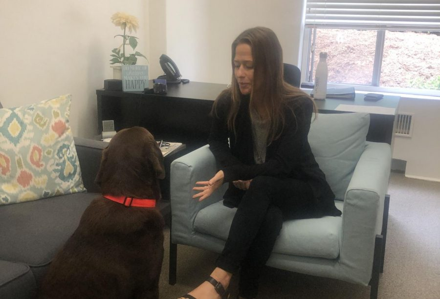 Jaime MacDonald and her dog Cleveland sit in MacDonalds new office.  MacDonald is Archers new school counselor.