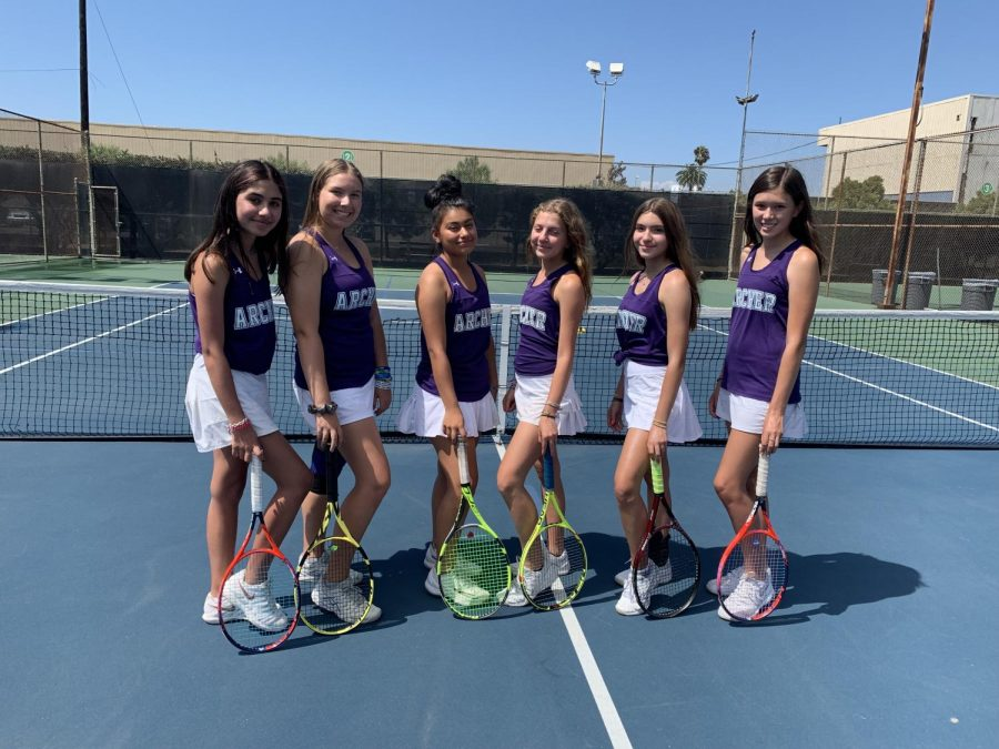 The+JV+tennis+team+is+comprised+of+six+freshman+and+sophomores.+The+team+played+in+more+matches+than+last+year%2C+which++allowed+them+to+%27improve%27+both+individually+and+as+a+team.+