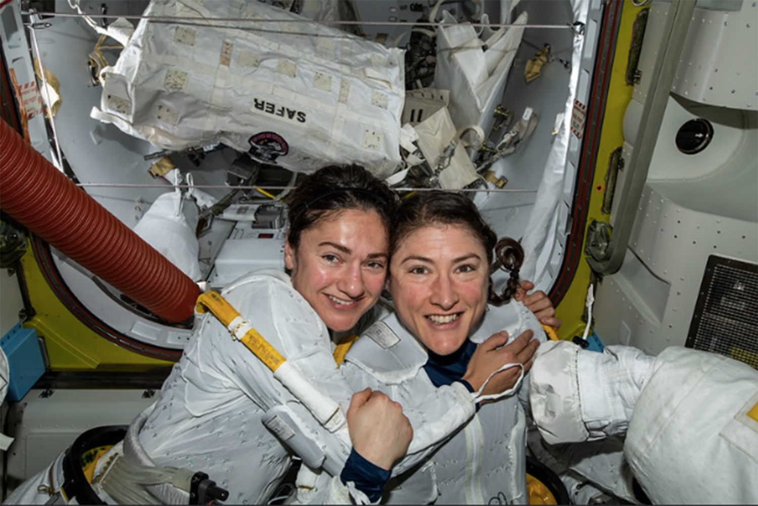 Astronauts Jessica Meir and Christina Koch in the International Space Station. Meir is originally from Maine while Koch is from Michigan.