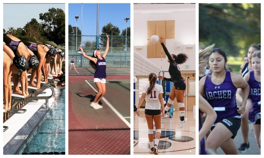 Athletes%2C+including+sophomores+Naya+Ben-Meir+and+Vaughan+Anoa%27i+and+eighth+grader+Julissa+Cach+practice+their+sports.+Varsity+Tennis%2C+Varsity+and+Middle+School+Volleyball%2C+Cross+Country+and+Middle+School+Swim+were+all+affected+by+the+Getty+fire%2C+which+left+many+students+evacuated+from+October+28+to+October+31.+Photos+courtesy+of+Archer+Athletics.+Photo+editing+by+Rio+Hundley