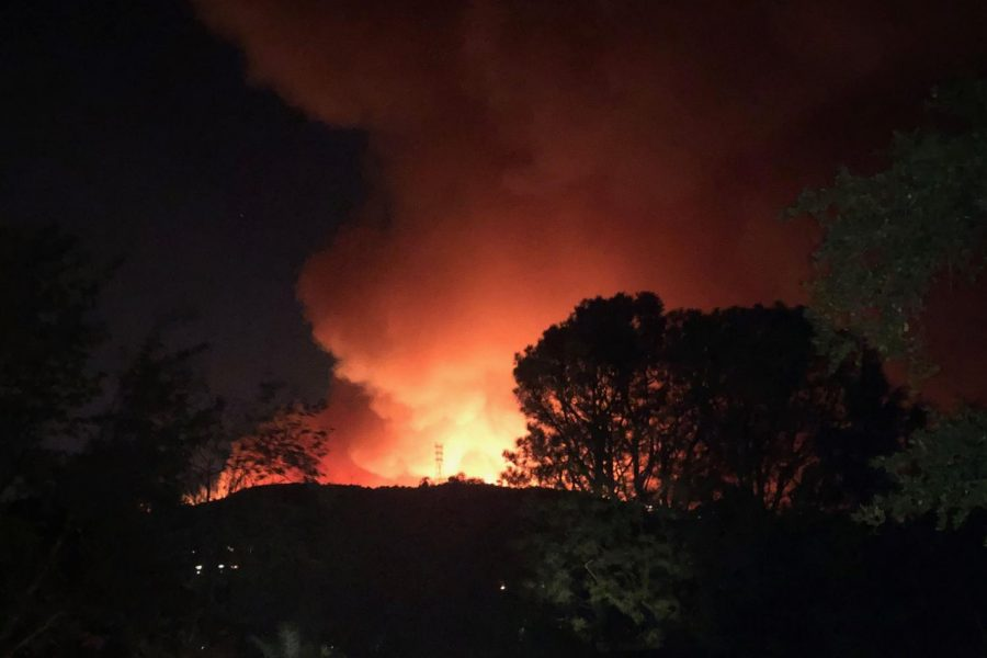 The+Getty+fire+burns+over+a+hill.+Some+families+of+Archer+students+were+evacuated+or+faced+power+outages+in+addition+to+school+cancellation.+