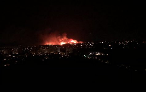 The Getty Fire burns over a hill in the early hours of Monday, Oct. 28. Because of the fire, Archer remained closed for four days.