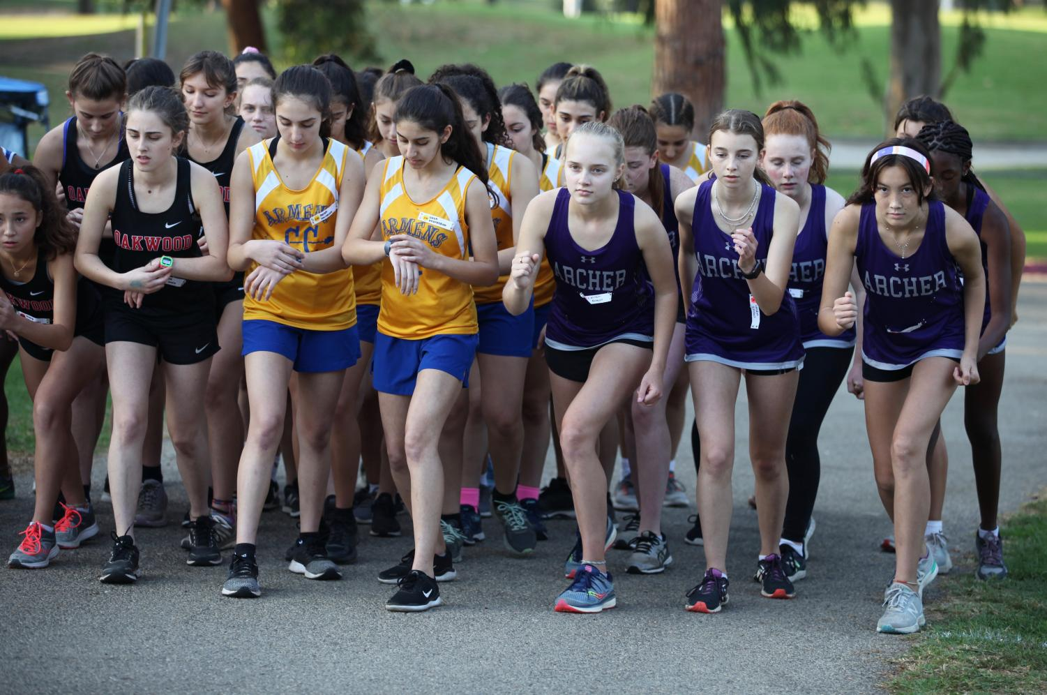 The varsity cross country runners take their marks at the league final meet. The runners collectively came in second place and beat their league rival, Pacifica Christian school. Throughout the season, every member of the team set a personal record.
