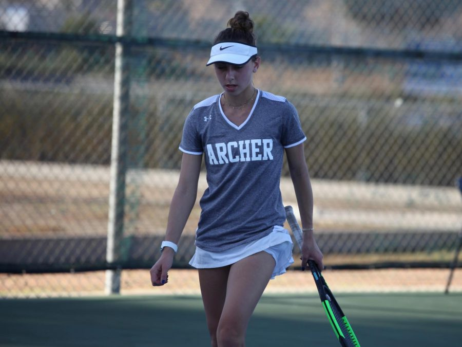 Junior Lexie Ben-Meir at a varsity tennis match. Ben-Meir has been named the Liberty League Most Valuable Player #1 singles. This is the first time an Archer tennis player has received this status.