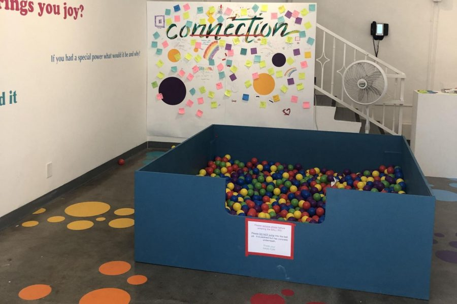 Multi-colored+prompts%2C+prompt+responses%2C+and+a+rainbow+ball-pit+fill+up+the+Eastern+Star+Gallery+space+for+the+%22Connections%22+exhibit.+Both+students+and+faculty+members+used+this+space+as+an+opportunity+to+make+new+connections+and++rekindle+old+ones.