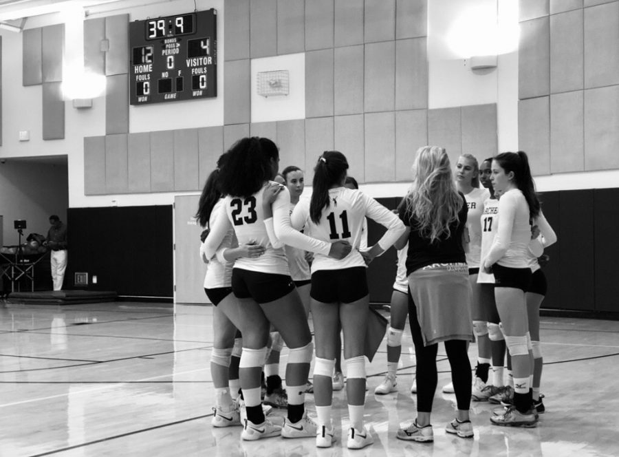 The+varsity+volleyball+team+huddles+during+the+timeout+while+Coach+Gera+discusses+their+next+play.+Co-captain+Cydney+Johnson+%28%2720%29%2C+who+wasn%27t+present+for+this+game%2C+commented+on+the+team%27s+camaraderie.+%22Our+team+is+very+connected%2C%22+Johnson+said.+%22I+see+us+as+one+big+family.%22+