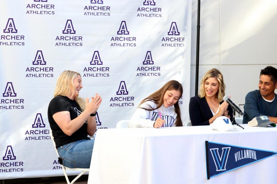 Senior Andrea Campos-Ralston signs her National Letter of Intent to play Division I volleyball at Villanova University. In order to earn this opportunity, Campos said she had to make sacrifices but believes volleyball has helped her learn how to be a leader. She is