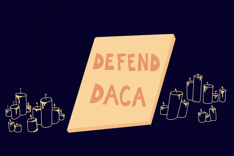 An+artistic+illustration+by+senior+Leslie+Castaneda.+The+illustration+features+a+poster+with+the+words+%22Defend+DACA%2C%22+similar+to+the+posters+protestors+have+been+holding+up+outside+the+White+House.+The+illustration+also+has+22+candles+like+the+ones+used+in+the+El+Paso+memorials.+The+candles+commemorate+the+22+lives+lost.